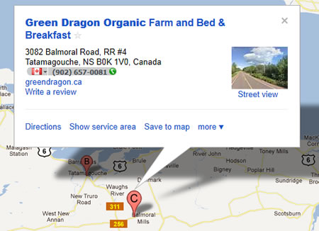 How to find Green Dragon Organic Farm and B&B